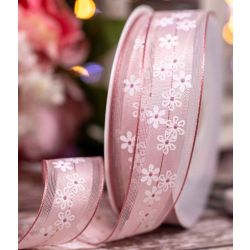 Dusky Pink Ribbon with striped edges and printed White Flowers - 25mm x 15m