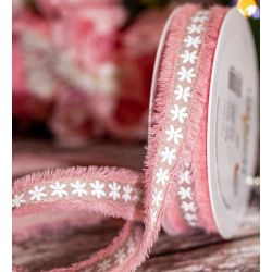 Pink Frayed Edged Ribbon With Floral Design