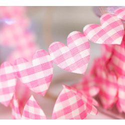 25mm Wide Pink Gingham Heart Shaped Ribbon
