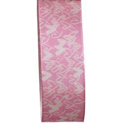 Pink Taffeta Ribbon With White Hearts