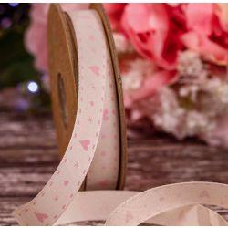 15mm x 20m Natural & Pink Hearts & kisses Ribbon