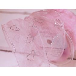 50mm Wired Pink Sheer Ribbon With Silver Glitter Hearts