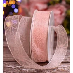 Pink Wired Edged Sheer Ribbon With Pink Floral Print