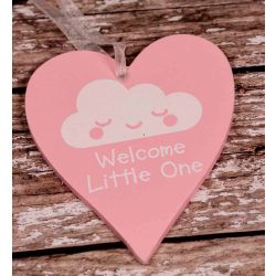Pink Wooden Heart With Welcome Little One In White