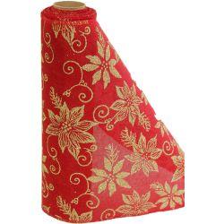 29cm x 5yrd Red Hessian & Gold Glitter Poinsettia Design