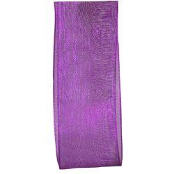 25mm wide purple woven edged sheer ribbon