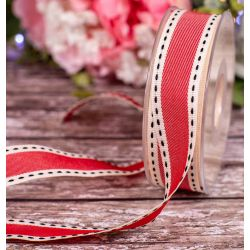 red and ivory 25mm vintage stitched ribbon