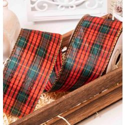 Red & Dark Green Tartan Style Ribbon With Gold Wired Edges 63mm x 10yrds