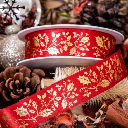 Exclusive 25mm red and gold holly print Christmas ribbon
