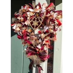 Red and Gold Heart Shaped Christmas Ribbon Wreath Kit