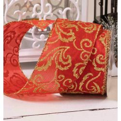 Red Satin Wired Edged Ribbon With Glitter Damask Gold 63mm x 10yrds