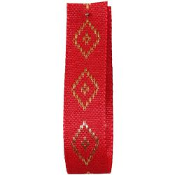 Diamond Taffeta Ribbon in Red with Gold Diamond Pattern 15mm x 20m. Art 60182
