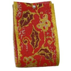 Holly Design In Red & Gold 40mm x 25m