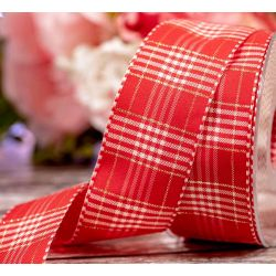40mm x 20m Red and Gold Rustic Plaid Ribbon By Berisfords Ribbons