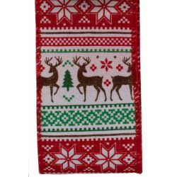 Red and green scandai style Christmas ribbon