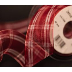 Red and White Wired Summer Check Sheer Ribbon 16mm x 20m
