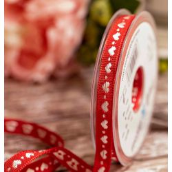 Woven White hearts on red woven ribbon