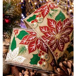 Red and White Poinsettia Design Ribbon With Wired Edge