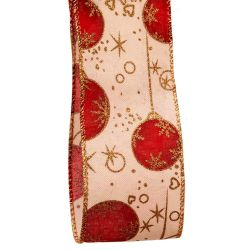 red bauble design christmas ribbon