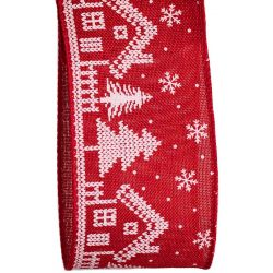 Red Nordic House Christmas Ribbon