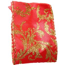 63mm x 10yds Wired Edged Red Satin With Gold Glitter Damask Design