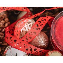 15mm red cutout heart ribbon