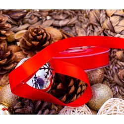 25mm x 20m Red Double Sided Satin Ribbon