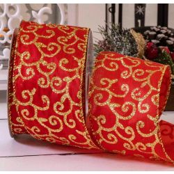 Red Satin Wired Edged Ribbon With Glitter Filigree Gold 63mm x 10yrds