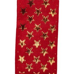 Galaxy Ribbon by Berisfords with Gold Stars on Red Ribbon - 10mm, 25mm, & 35mm Widths Available
