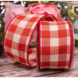 Large Red Gingham Check Ribbon 60mm x 10m