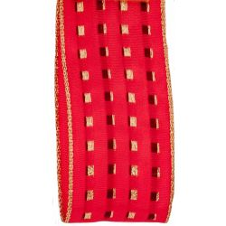 Red and gold lame gimp stitch ribbon in a 40mm width with a lightly wired edge