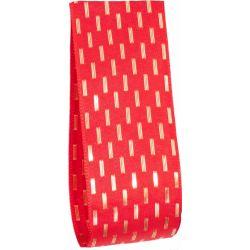 Red Taffeta Ribbon With Gold Stitching