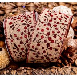 Eleganza Natural Wire Edge Ribbon with Red Glitter Berries - 63mm x 9.1m