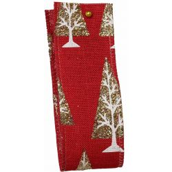 Glitter Christmas Tree Ribbon In Red - 38mm x 10yrds