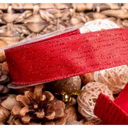 Red Wired Edged Festive Shimmer Ribbon - 38mm x 9.1m