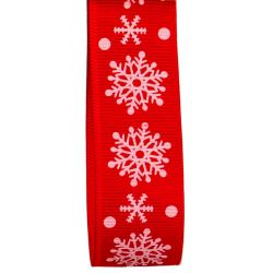 25mm Red Grosgrain Ribbon With White Snowflake Design
