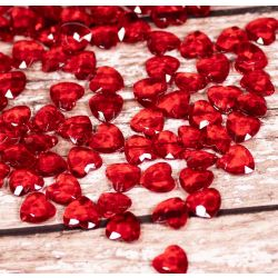 Heart Shaped Faceted Acrylic Gems in Red