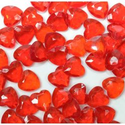 Heart Shaped Faceted Beads In Red