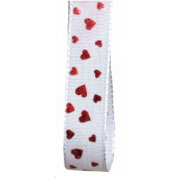 White Taffeta Ribbon With Red Hearts