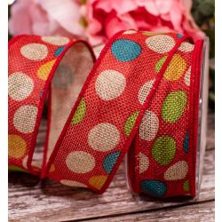 Red Hessian Ribbon With Spotty Design 38mm x 10m