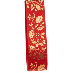 Gold holly print on a red satin ribbon base