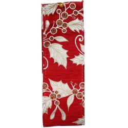 Mistletoe and Holly Red and Gold Wired Edge Ribbon Article 644687
