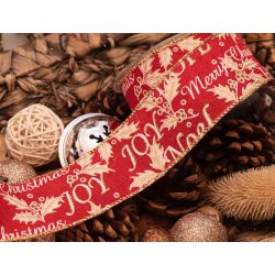 50mm Merry Christmas Ribbon With Wired Edge