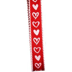 red and white taffeta ribbon with heart design