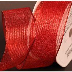Red Wired Metallic Mesh Ribbon 38mm x 10m