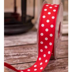 Red Polka Dot on light weight taffeta 25mm x 20m