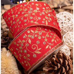 Eleganza Red Wired Edge Ribbon with Gold Glitter Berries on Holly 63mm x 9.1m