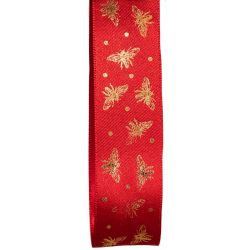 25mm Red Satin Ribbon With Gold Bee Design