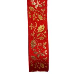 Red Satin With Gold Holly Print