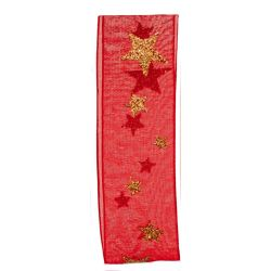 Red Sheer ribbon with gold glitter stars